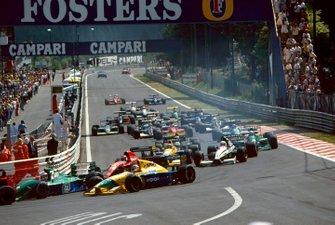 Michael Schumacher, Jordan, Nelson Piquet, Benetton, Jean Alesi, Ferrari, Roberto Moreno, Benetton, Stefano Modena, Tyrrell, Pierluigi Martini, Minardi, Andrea de Cesaris, Jordan
