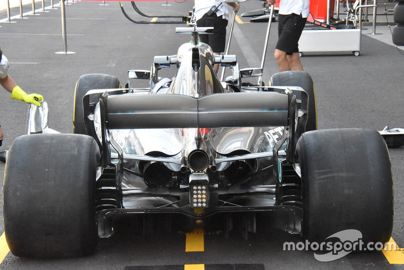 A look at the entire rear end of the Mercedes W09 shows the level of cooling it requires for the challenges of the Mexican Grand Prix circuit.