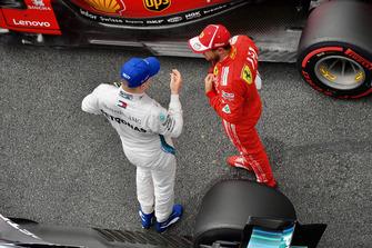 Valtteri Bottas, Mercedes AMG F1 and Sebastian Vettel, Ferrari in parc ferme
