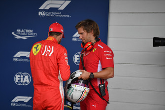 Sebastian Vettel, Ferrari with his trainer Antti Kontsas in Parc Ferme