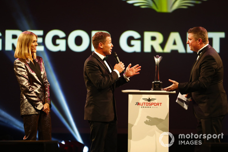 Tom Kristensen on stage to present a Gregor Grant Award