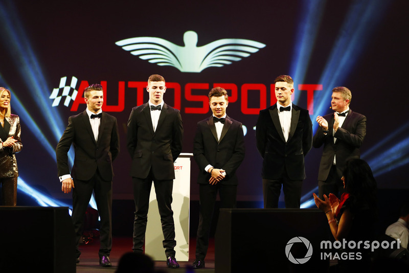 McLaren Autosport BRDC Award nominees Jamie Caroline, Tom Gamble, Max Fewtrell and Kiern Jewiss, on stage