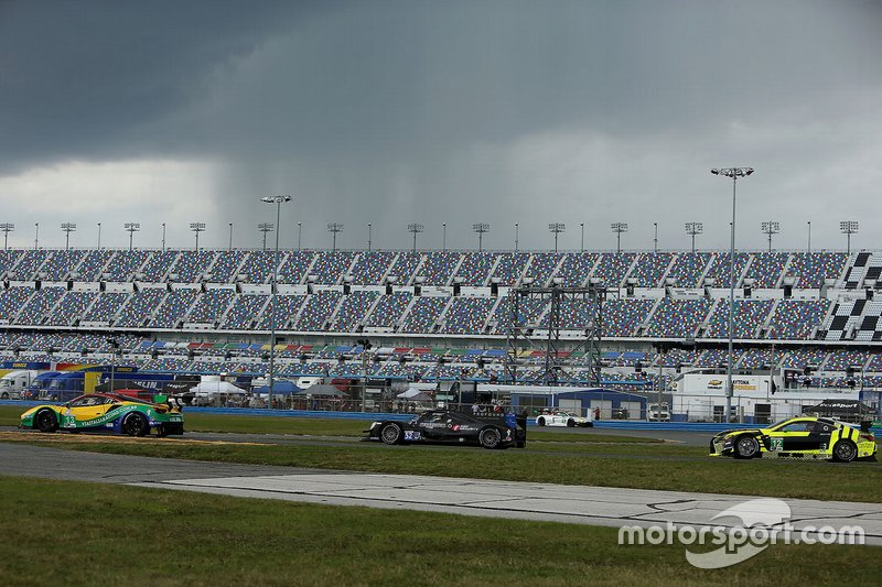 Track action with a threatening skies