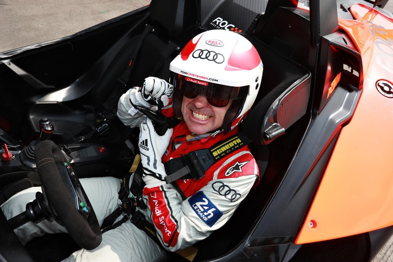 Tom Kristensen prepares to drive