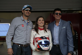 Tatiana Calderon, Sauber C37 Test Driver with the sponsors