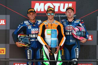 Podium: second place Sandro Cortese, Kallio Racing, winner Jules Cluzel, NRT, third place Lucas Mahias