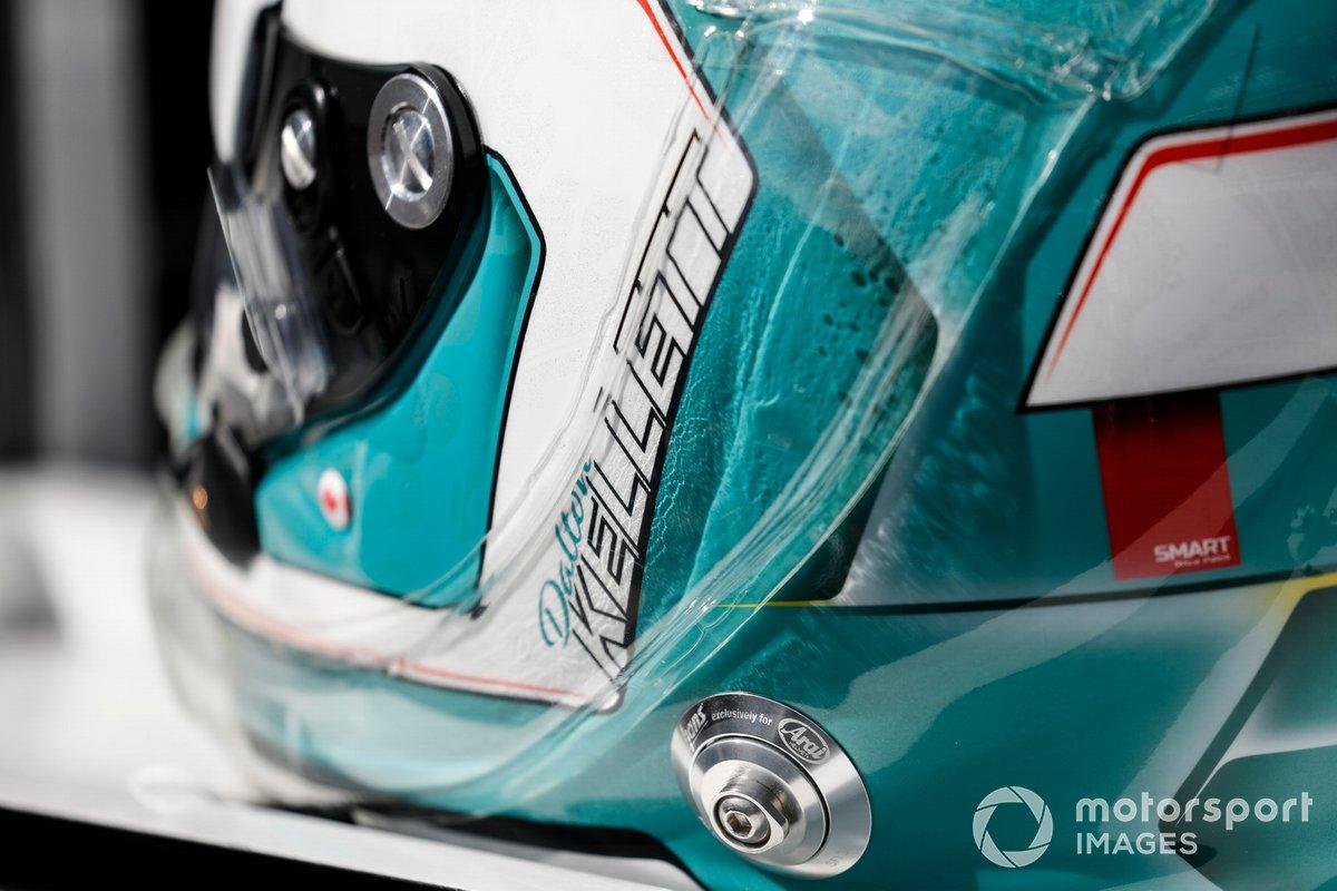 Detalle de Dalton Kellett's helmet, A.J. Foyt Enterprises Chevrolet