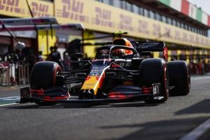 Alex Albon, Red Bull Racing RB16, in the pit lane