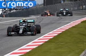 Valtteri Bottas, Mercedes F1 W11, Lewis Hamilton, Mercedes F1 W11, and Max Verstappen, Red Bull Racing RB16