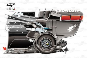Dettaglio del fondo Mercedes F1 W11 a Spa