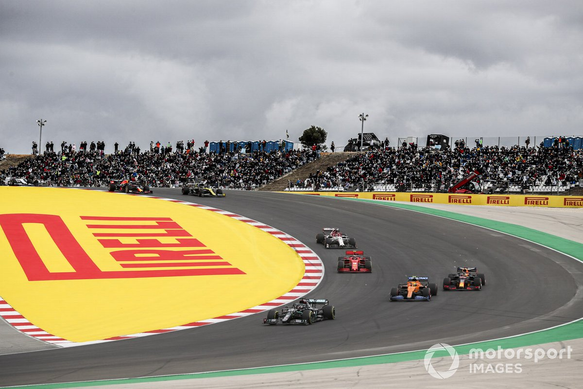 Lewis Hamilton, Mercedes F1 W11, Lando Norris, McLaren MCL35, Max Verstappen, Red Bull Racing RB16, Charles Leclerc, Ferrari SF1000, Kimi Raikkonen, Alfa Romeo Racing C39