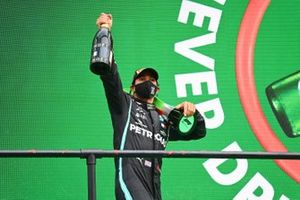Lewis Hamilton, Mercedes-AMG F1, 1st position, with his trophy and Champagne