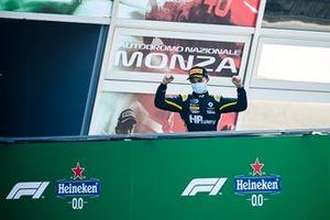 Oscar Piastri, Prema Racing celebrates on the podium