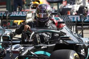 Lewis Hamilton, Mercedes-AMG F1, arrives in Parc Ferme after securing pole