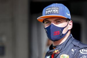 Max Verstappen, Red Bull Racing, in Parc Ferme after Qualifying on the front row