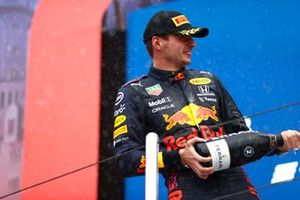 Max Verstappen, Red Bull Racing, 2nd position, sprays Champagne on the podium