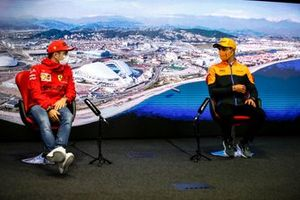 Charles Leclerc, Ferrari and Lando Norris, McLaren in the Press Conference