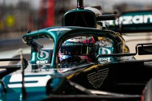 Sebastian Vettel, Aston Martin, in the pit lane