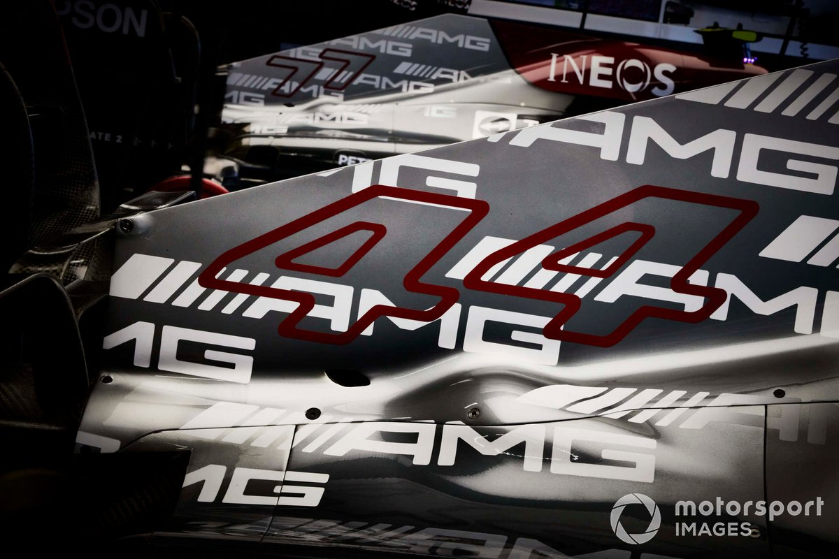 Número de carrera en el coche de Lewis Hamilton, Mercedes W12