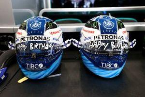 Specially marked helmets for Valtteri Bottas, Mercedes, on his birthday