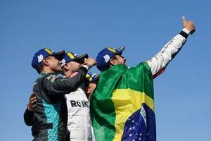 Mitch Evans, Jaguar Racing, terzo classificato, Edoardo Mortara, Venturi Racing, secondo classificato, Lucas Di Grassi, Audi Sport ABT Schaeffler, primo classificato, sul podio