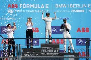 The drivers championship podium with Ian James, Team Principal, Mercedes-Benz EQ, Nyck de Vries, Mercedes-Benz EQ, Susie Wolff, Team Principal, Venturi Racing, Jake Dennis, BMW i Andretti Motorsport