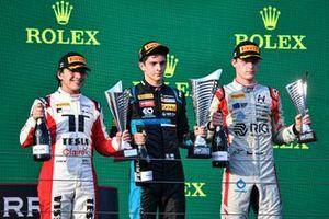 Enzo Fittipaldi, Charouz Racing System, Rcae winner Matteo Nannini, HWA Racelab and Roman Stanek, Hitech Grand Prix celebate on the podium