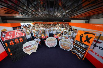 Marc Marquez, Repsol Honda Team, Jorge Lorenzo, Repsol Honda Team celebrate with the team