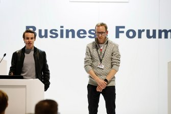 Richard Morris and Christopher Sharp deliver a talk about Racing Pride at the Business Forum