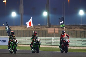 Jonathan Rea, Kawasaki Racing Team, Leon Haslam, Kawasaki Racing Team, Toprak Razgatlioglu, Turkish Puccetti Racing celebrate winning the manufacturers title for Kawasaki