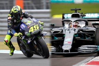 Valentino Rossi y Lewis Hamilton intercambiarán sus máquinas