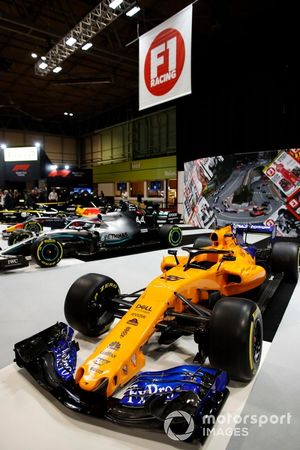The McLaren MCL34 on the F1 Racing stand
