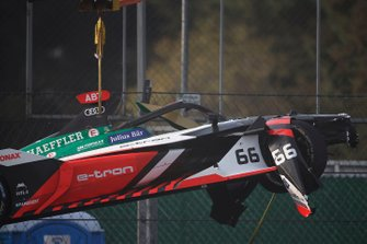 Car of Daniel Abt, Audi Sport ABT Schaeffler, Audi e-tron FE06 is craned away