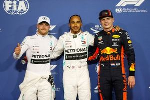 Top 3 after Qualifying, Lewis Hamilton, Mercedes AMG F1, Valtteri Bottas, Mercedes AMG F1 and Max Verstappen, Red Bull Racing