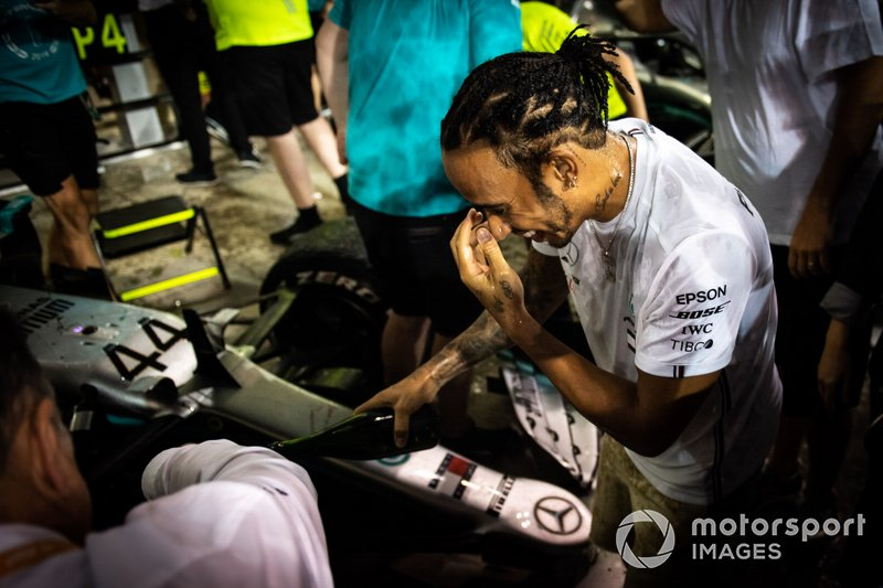 Lewis Hamilton, Mercedes AMG F1, 1st position and 2019 World Champion, celebrates with his team