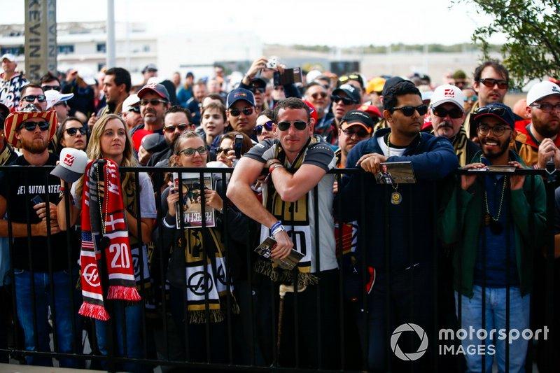 Fans wait for autographs