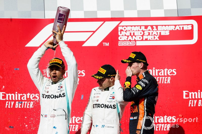 World Champion Lewis Hamilton, Mercedes AMG F1, race winner Valtteri Bottas, Mercedes AMG F1, celebrate on the podium with Max Verstappen, Red Bull Racing