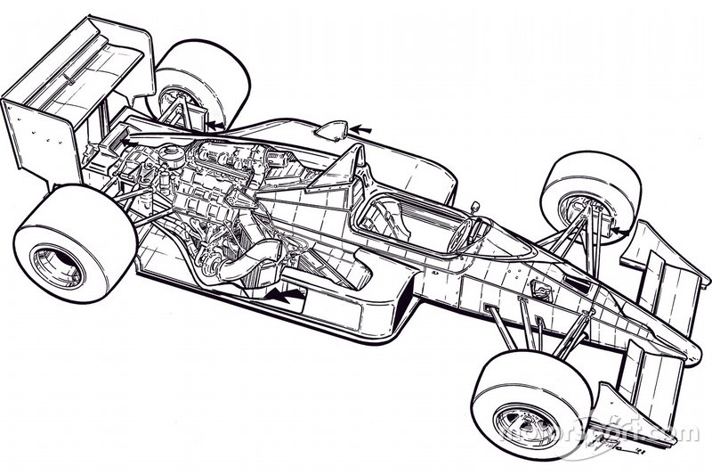 Giorgio Piola's original black and white illustration of the McLaren MP4/4