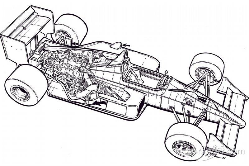 Giorgio Piola's original black and white illustration of the McLaren MP4/4