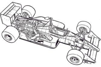 L'illustrazione originale in bianco e nero di Giorgio Piola della McLaren MP4/4