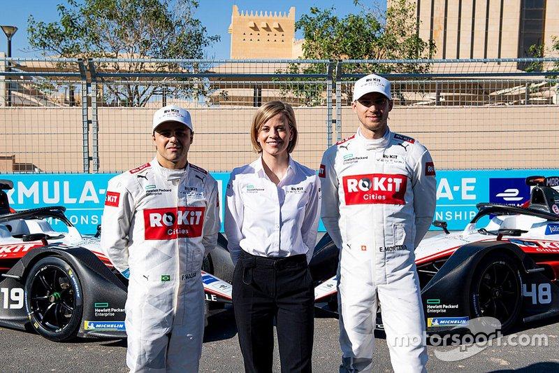 Гонщики Venturi Racing Фелипе Масса и Эдоардо Мортара, руководитель команды Сюзи Вольф