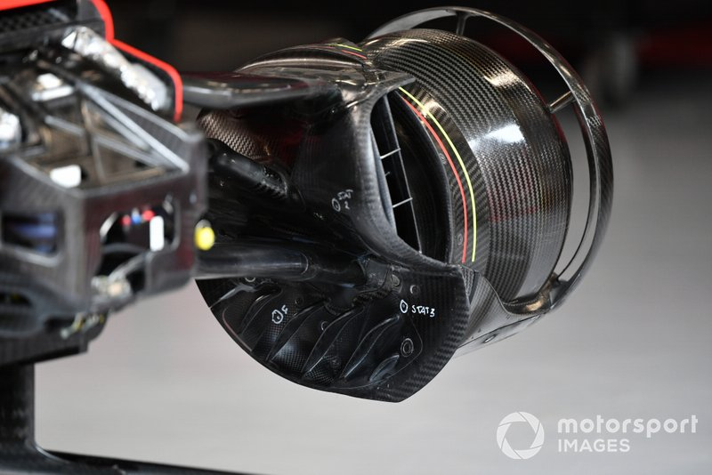 Wheel and brake duct detail of Sebastian Vettel's Ferrari SF1000