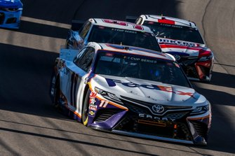 Denny Hamlin, Joe Gibbs Racing, Toyota Camry FedEx Ground, Christopher Bell, Leavine Family Racing, Toyota Camry Rheem-RTP, Kyle Busch, Joe Gibbs Racing, Toyota Camry Snickers White