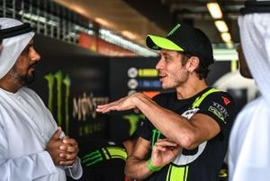 Valentino Rossi with Al Tareq Al Ameri, Yas Marina Circuit CEO and Abdulrahman Al Shamsi, Supply Chain Director