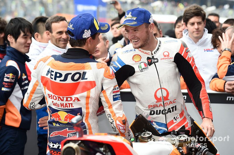 Race winner Marc Marquez, Repsol Honda Team, Jack Miller, Pramac Racing