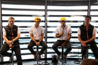 Andreas Seidl, Team Principal, McLaren, Lando Norris, McLaren, Carlos Sainz Jr., McLaren, and James Key, Technical Director, McLaren, hold a Press Conference
