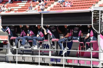The Racing Point team on the pit wall