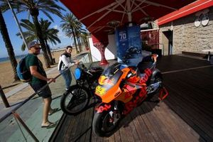 The KTM down near the beach with the Velocette