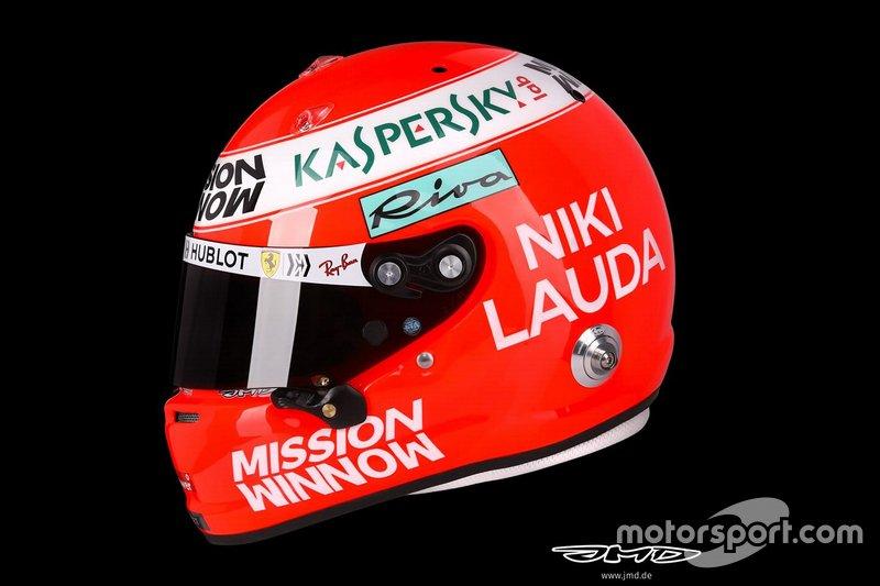 El casco de Sebastian Vettel, Ferrari, para el GP de Mónaco