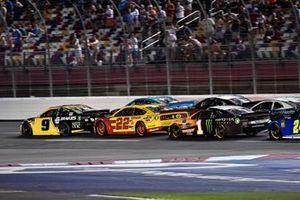 Chase Elliott, Hendrick Motorsports, Chevrolet Camaro NAPA Brakes, Joey Logano, Team Penske, Ford Mustang Shell Pennzoil, and Kurt Busch, Chip Ganassi Racing, Chevrolet Camaro GEARWRENCH/Monster Energy